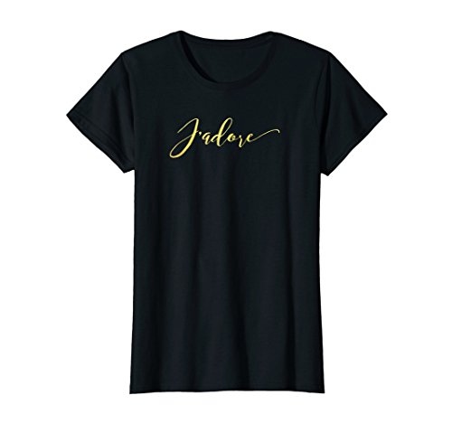 Womens J'adore T-Shirt with Gold Foil Font ()