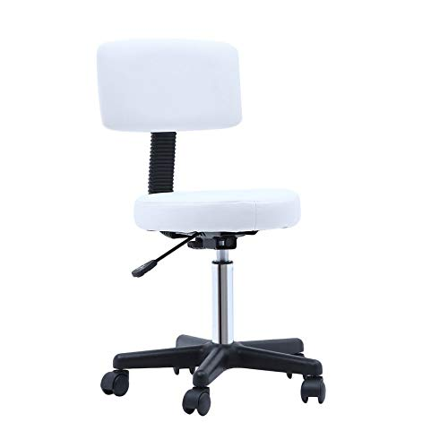 Rolling Swivel Stool Salon Chair with Backrest Adjustable Hydraulic Massage Stool for Salon Spa Tattoo Facial Medical Office (White)