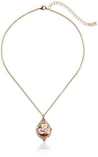 1928 Jewelry Collar con colgante ajustable de rosa de porcelana rosa y cristal rosa en tono dorado, 16