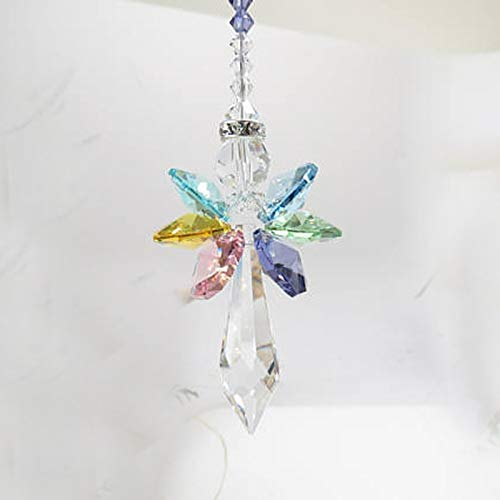 Davitu 1PCS Rainbow Angel Suncatcher Crystal Guardian Angel Chakra Sun Catchers Rear View Mirror Car Charm Home Decor - (Size: 63mm) ()
