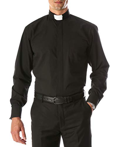 Ferrecci 4XL20.5 34-35 Mens Black Clergy Shirt - Half Tab ()