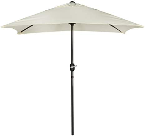 Aktive Garden 53879 - Parasol Rectangular, 120 x 200 cm, Mástilil Aluminio 38 mm, Blanco Roto