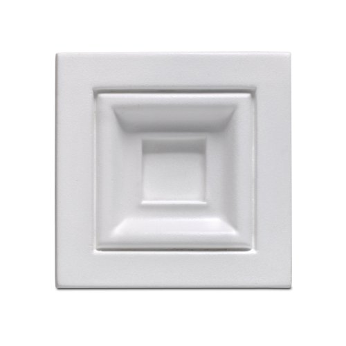 Focal Point 97530 Rutherford Block Rosette 3 15/16 by 3 15/16-Inch by 1 7/16-Inch, Primed White (Focal Point Medallions)