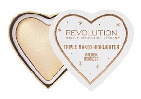 Image Unavailable. Image not available for. Color: Makeup Revolution Blushing Hearts Triple Baked Highlighter, Golden Goddess