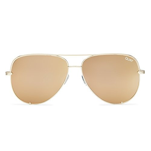 Quay Australia HIGH KEY MINI Mens and Womens Sunglasses Aviator Sunnies - Gold
