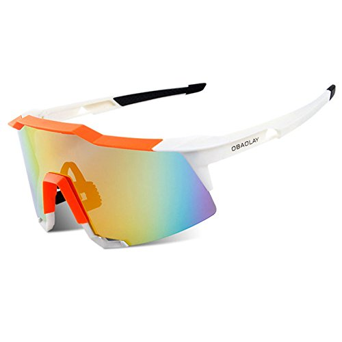 Sports Sunglasses 2 Set Interchangeable Lenses For Baseball Cycling Fishing New (White, - Scattante Sunglasses