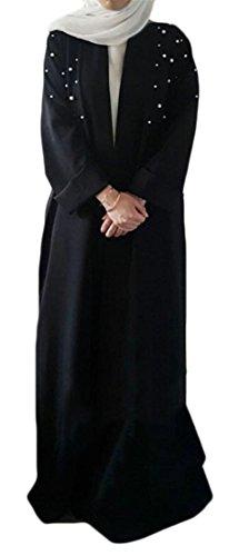 Lutratocro Women Loose Beaded Cardigan Robe Abaya Saudi Arabia Maxi Muslim Belt Cardigans Black XXL