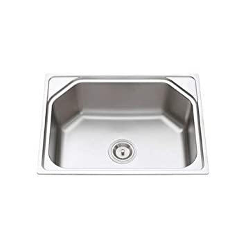 Tavish Matte Finish 304 Stainless Steel Sink With Basket Coupling Drain Pipe And A Small Kitchen Slab Wiper 24 X 18 X 9 Inch Chrome Amazon In Home Improvement