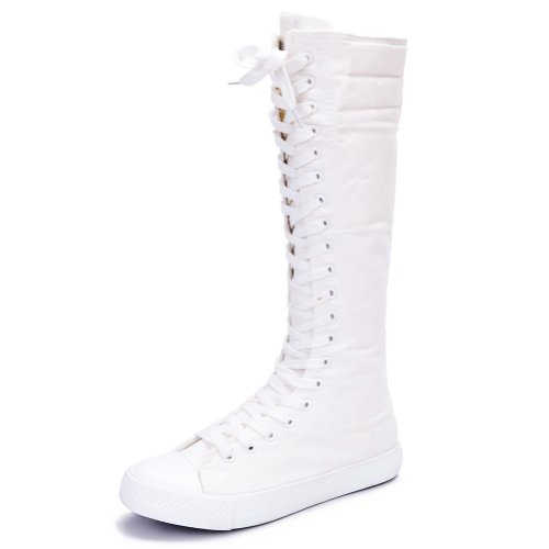Rismart Women's Lace Up Cute Knee High Costume Canvas Boots SN811(White,US9)