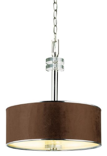 Eurofase 15331-028 Savvy 3-Light Pendant, Satin Nickel/Brown
