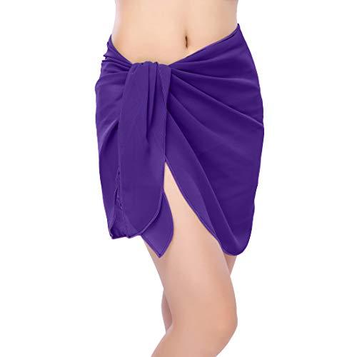 (ChinFun Women's Sarong Wrap Beach Swimwear Chiffon Cover Up Short Pareo Bikini Swimsuit Wrap Skirt Bathing Suit Shawl Semi-Sheer Translucent Solid Dark Purple Plus Size)