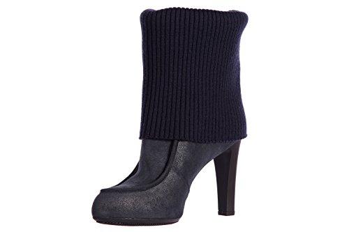 Hogan Damen Leder Stiefeletten Stiefel Ankle Boots mit Absatz blu