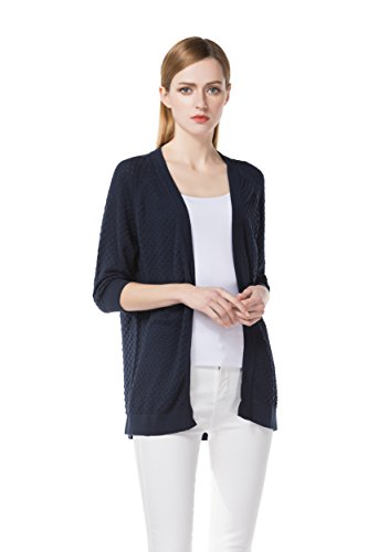 Knitbest Women's 100% Cotton 3D Knitted 3/4 Sleeve Navy Cardigans (X Large, Navy)