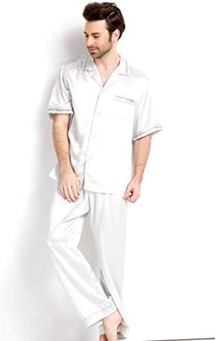 ンパジャマ 100%シルクメンズ半袖サテンパジャマパンツを設定ラウンジウェアボタンPJのマルベリーシルク軽量首輪パジャマ -4561