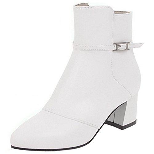 Mode Boots Bout Coolcept Pointu Fermeture White Eclair Femmes Bottines PxwBBH