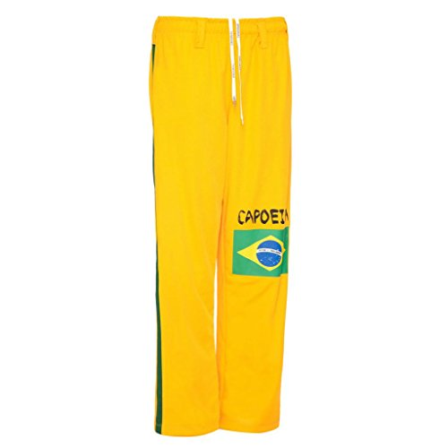 JL Sport Authentic Brazilian Capoeira Martial Arts Pants - Unisex (Yellow with Brazilian Flag)