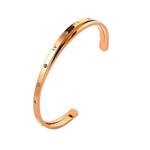 Designer Inspired Titanium Steel Roman Numeral Open Cuff Love Bracelet with Swarovski Crystals (Rose Gold)