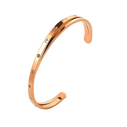 (Designer Inspired Titanium Steel Roman Numeral Open Cuff Love Bracelet with Swarovski Crystals (Rose Gold))