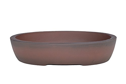 "PB13-21 Unglazed 21/"" Oval Yixing Purple Clay Ceramic Bonsai Pot"