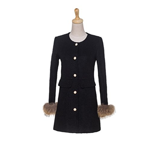 Baymate Faux Abotonamiento Chaqueta De Collar Única Negro Con Fur Abrigos Cuff Parka Redondo Para Mujer g8HEqwH