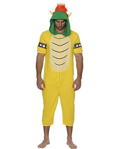 Nintendo Men's Character Onesie Pajama Crop-Leg Costume Union Suit, Bowser Yellow, Small