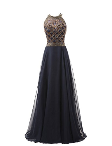 HarveyBridal Luxury Crystal Sheer Back A-Line Evening Gowns For Party Navy Blue