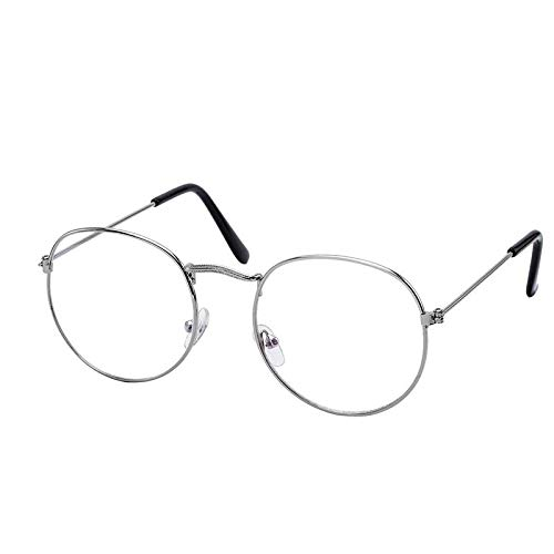 e3dd8857377 Royal Wood Full Rim Anti Glare Computer Glasses Round Frame For Men and  Women (RW) Round Silver Frame(Anti Glare Glasses)  Amazon.in  Clothing    Accessories