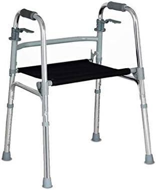 ホイールとクッションを備えた折りたたみ式アルミニウム製ウォーキングエイド、大人用/高齢者/身体障害者用、8段の高さ調節可能な滑り止めマット、高齢者用の歩行補助器具