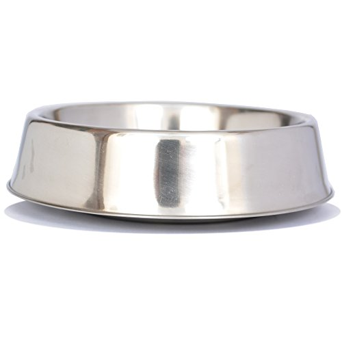 Iconic Pet 2-Cup Anti Ant Stainless Steel Non Skid Pet Bowl for Dog or Cat, 16-Ounce Ant Free Pet Bowl