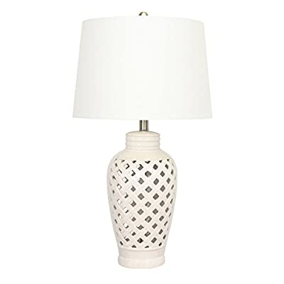 Fangio Lighting 8827WH Transitional Ceramic Table Lamp with Lattice Design, 26-Inch, White