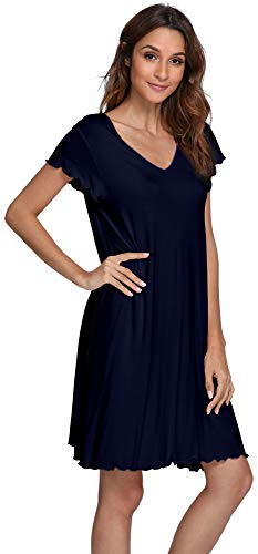 WiWi Sleepwear Women's Casual V Neck Nightshirt Cap Sleeve Nightgown S-XXXXL(4XL), Navy, Small -