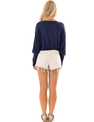 Bleu Femme Longues Chemisier Uni Blooming Manches Marine Jelly 7APqT