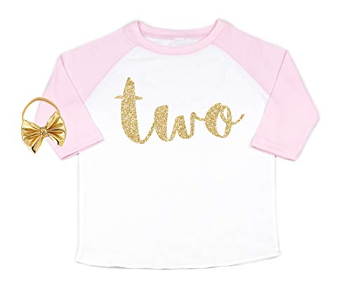 Nyla Marie Kids Second Birthday Shirt 2nd Birthday Shirts for Girls Toddler Baby Clothes (2T) Pink, White