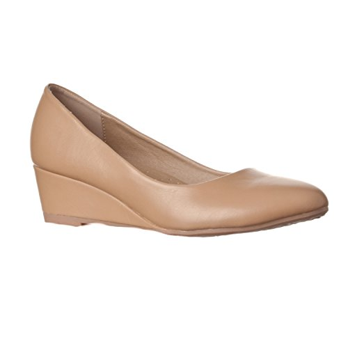 Riverberry Women's Alice Low-Height Round Toe Wedge Pumps, Taupe PU, ()