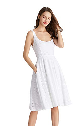 - LY VAREY LIN Women's Sleeveless Tank Floral Jacquard Dress (White, M)