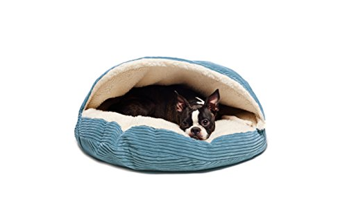 Precious Tails Cozy Corduroy Round Cave 25inch Dog Bed in Tu