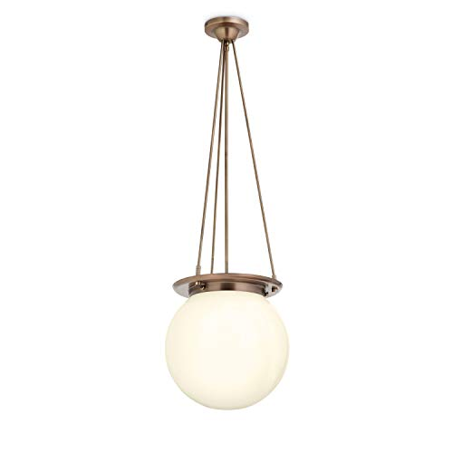 - Foyer Globe Chandelier Light - Bronze Fixture with White Glass, Regent Collection, Dimmable, ETL Listed