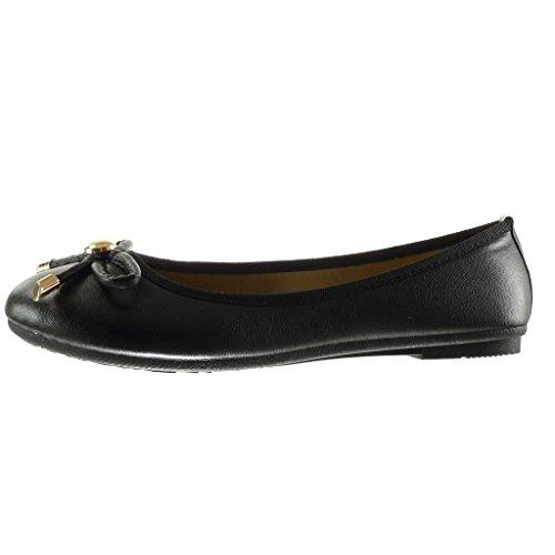 Angkorly - damen Schuhe Ballerina - Slip-On - Knoten - metallisch flache Ferse 1 CM - Schwarz