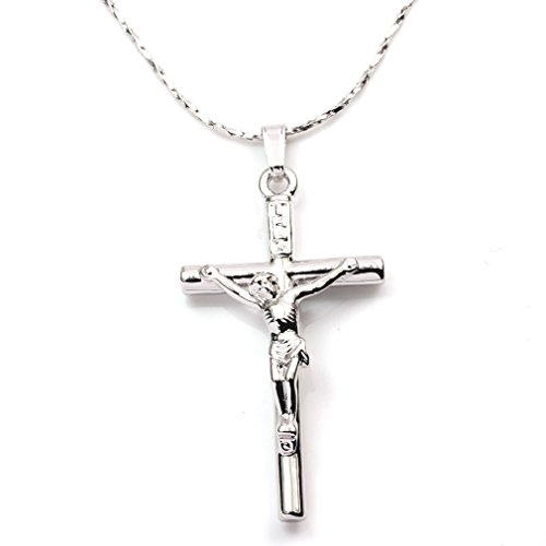 FC JORY White Gold Plated Alloy None Stone Jesus Christ Crucifix Cross Pendant Chain Necklace