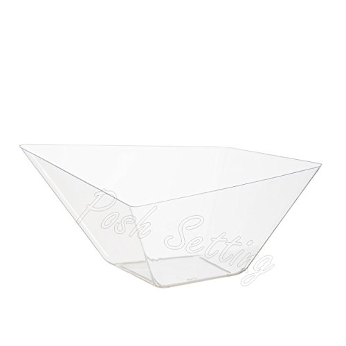 Posh Setting Crystal Clear, Disposable Premium Hard Plastic Large Diamond Shaped Bowl, Party, Salad, Snack and Fruit Bowl 5 (Large Party Bowl)