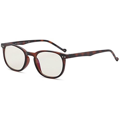 Gamma RAY 010 Slim Vintage Computer Readers Reading Glasses Anti Reflective Anti Glare Anti Eyestrain Lens for Digital Screens, UV400 Protection - 0.00x in Tortoise