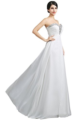 Brautjungfer Kleid Perlen Fare Party Fan Ball Abend formale drasawee Trägerlos Chiffon Damen HOfqAf