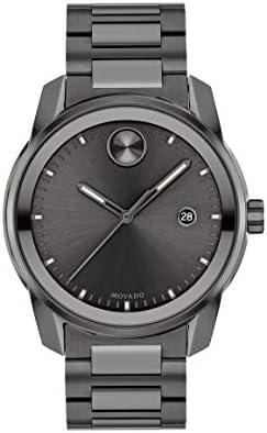Movado Men's Swiss Quartz Watch with Stainless Steel Strap, Grey, 21 (Model: 3600736)