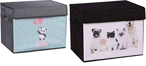 - Prorighty [2-Pack, Black+Grey with Panda and Pets Print] Strong Beautiful Collapsible Toy Chest Box Organizer Flip-Top LID Organizer for Girl or Boy Gifts Container Multi-use Nursery or Laundry