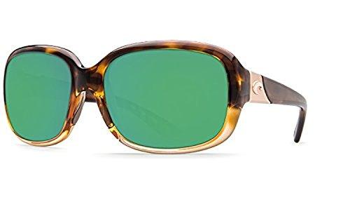 (Costa Gannet Sunglasses Shiny Tortoise Fade/Green Mirror 580P & Cleaning Kit)