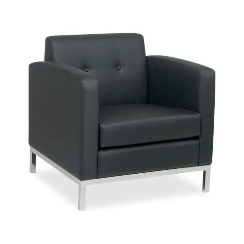 AVE SIX Wall Street Faux Leather Armchair with Chrome Finish Base, Black - Faux Leather Wall Street