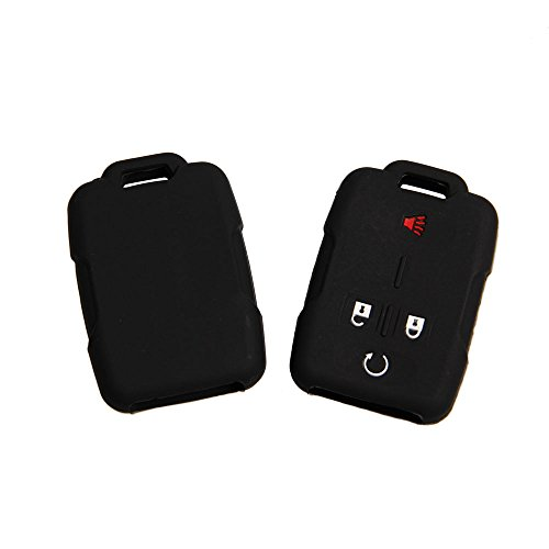 Deals Fontic Set of 2 Black Rubber Silicone Smart Key Fob Remote Cover Case Holder Protectors for Chevrolet Silverado Colorado M3N32337100 13577770 13577771 GMC Sierra Yukon Cadillac