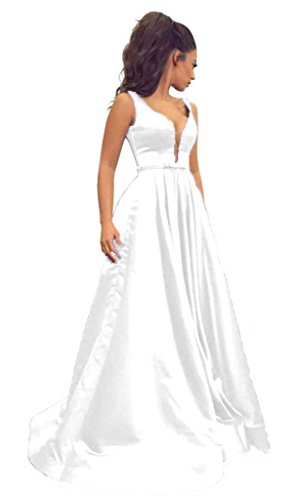 Sisidress Women's Deep V Neck Prom Dresses A line Open Back Satin Long Evening Gowns White Size 10 ()