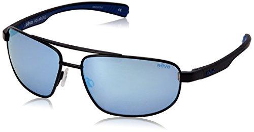 Revo Wraith  RE 1018 Polarized Rectangular Sunglasses, Black Blue Water, 61 - Sunglass Revo
