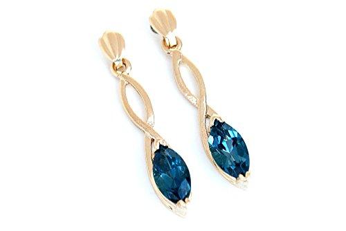Or 9ct Topaze Bleu Londres Coupe Marquise longues boucles d'oreilles